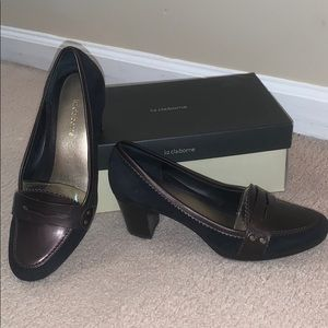 Liz Claiborne black suede Clio high heels